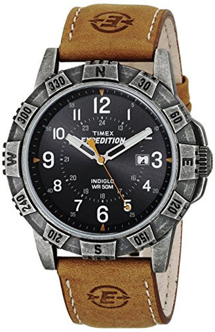 Timex Men's T49991 Expedition Rugged Metal Field Tan/Black Leather Strap Watch