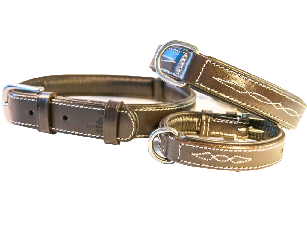 CHEVALIER brown leather dog collar