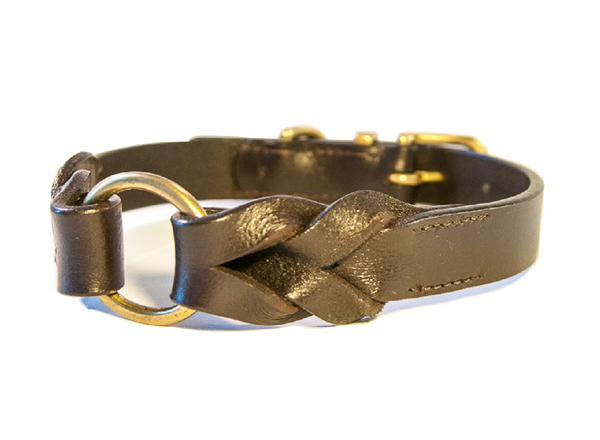 BRAID brown dog collar