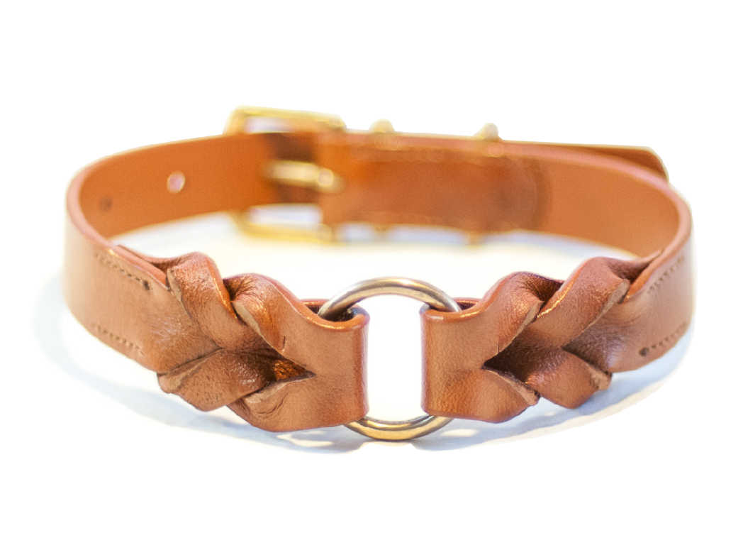 BRAID lightbrown dog collar
