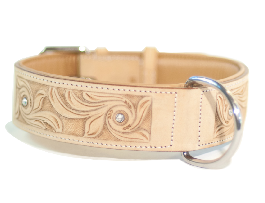 BRILLIANCE natural dog collar with Swarovski