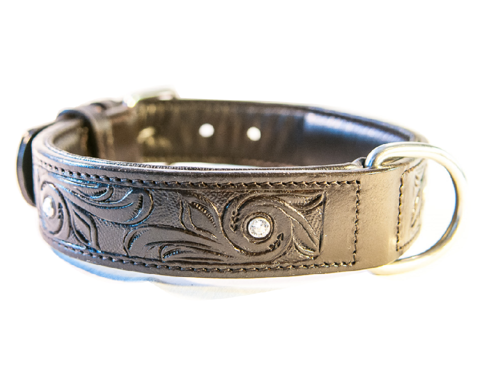 BRILLIANCE brown dog collar with Swarovski