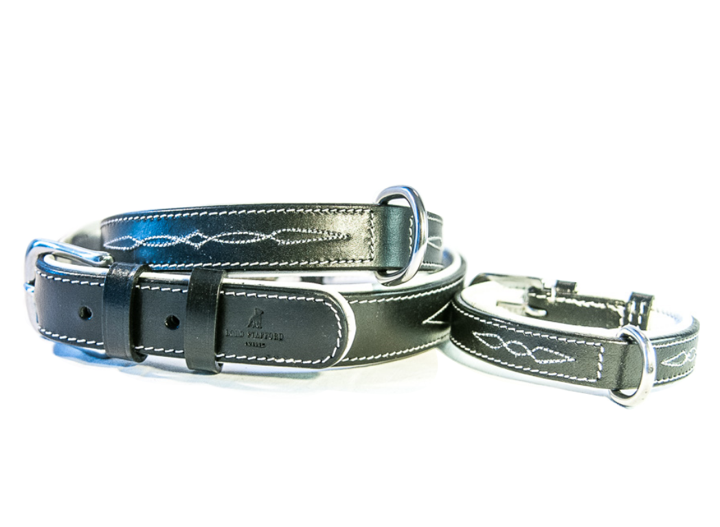 CHEVALIER black leather dog collar
