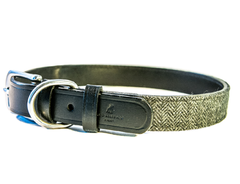 HERRINGBONE black dog collar