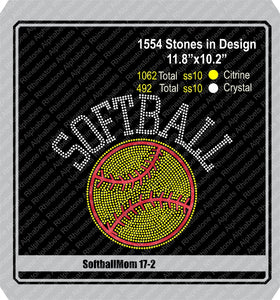 Softball Mom 17-2 ,TTF Rhinestone Fonts & Rhinestone Designs
