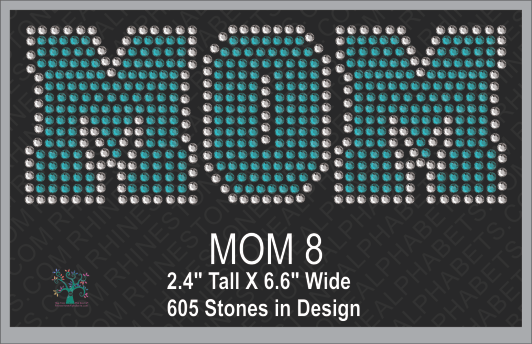 MOM Word 8 ,TTF Rhinestone Fonts & Rhinestone Designs