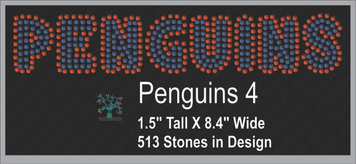 Penguins Word 4 ,TTF Rhinestone Fonts & Rhinestone Designs