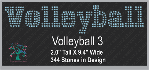 Volleyball Word 3 Rhinestone TTF  Alphabets and Rhinestone Designs