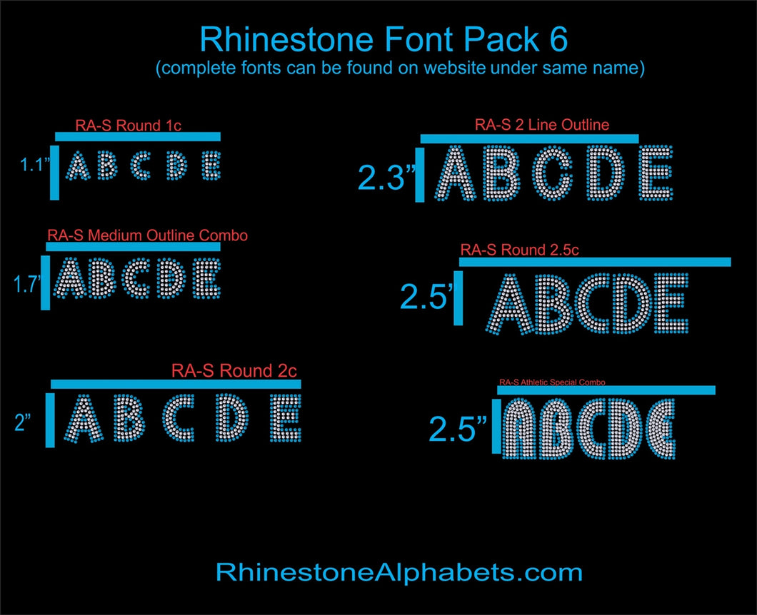Font Pack 6 Download Only ,TTF Rhinestone Fonts & Rhinestone Designs