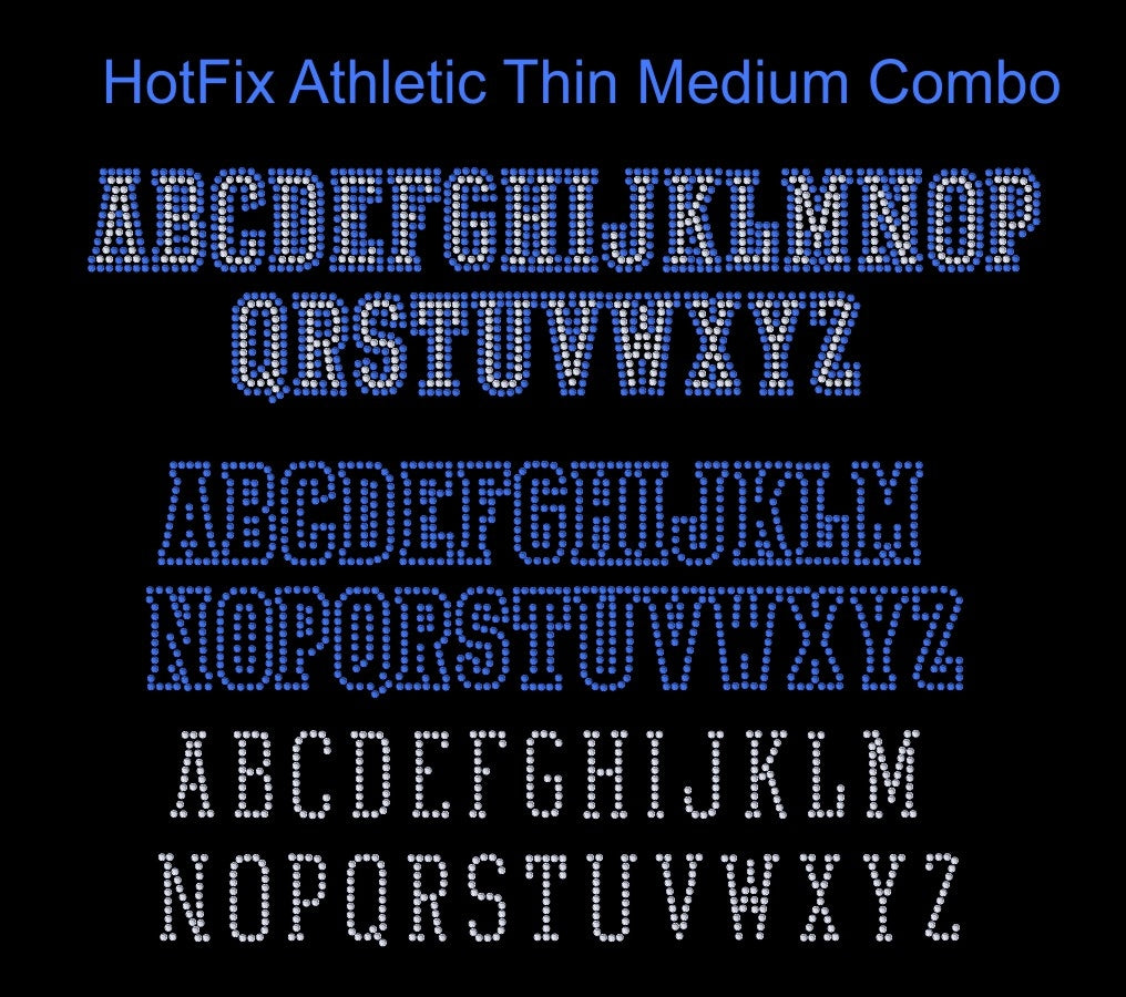 Athletic Thin Medium Combo dsg file ,TTF Rhinestone Fonts & Rhinestone Designs