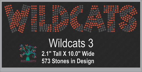 Wildcats Word 3 Rhinestone TTF  Alphabets and Rhinestone Designs