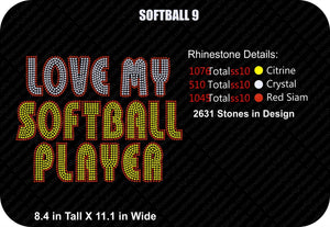 SOFTBALL 9 ,TTF Rhinestone Fonts & Rhinestone Designs