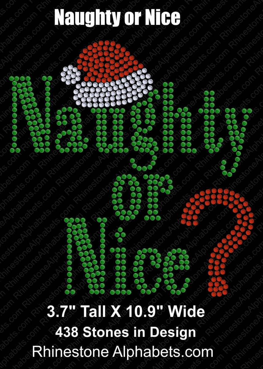 Naughty or Nice ,TTF Rhinestone Fonts & Rhinestone Designs