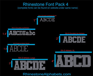 Font Pack 4 Download Only ,TTF Rhinestone Fonts & Rhinestone Designs