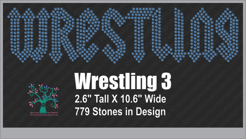 Wrestling Word 3 Rhinestone TTF  Alphabets and Rhinestone Designs