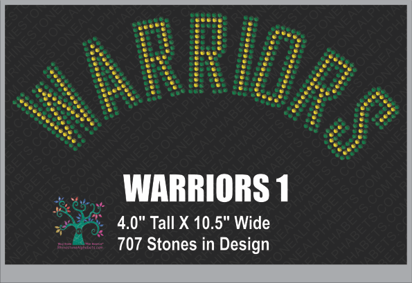 Warriors Word 1 Rhinestone TTF  Alphabets and Rhinestone Designs