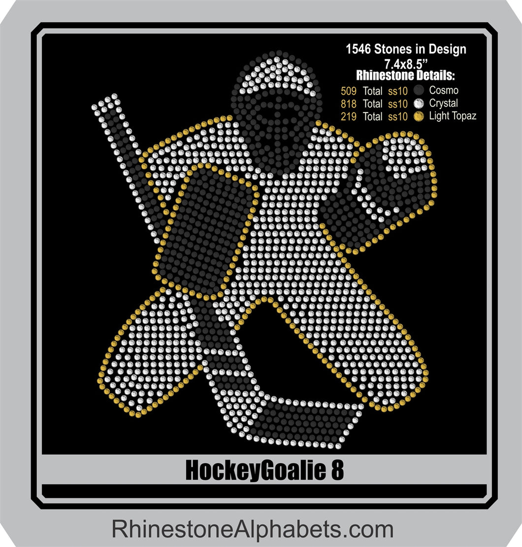Hockey Goalie 8 ,TTF Rhinestone Fonts & Rhinestone Designs