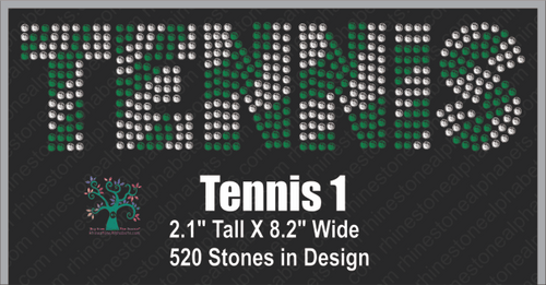 Tennis Word 1 ,TTF Rhinestone Fonts & Rhinestone Designs