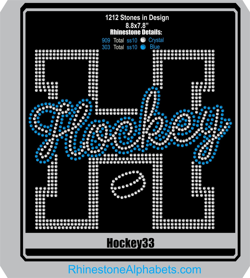 Hockey 33 ,TTF Rhinestone Fonts & Rhinestone Designs