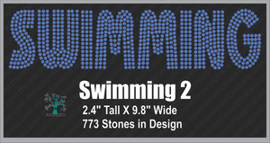 Swimming Word 2 ,TTF Rhinestone Fonts & Rhinestone Designs