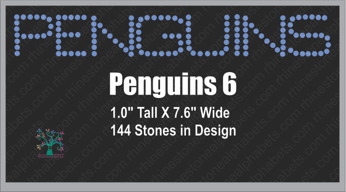 Penguins Word  6 ,TTF Rhinestone Fonts & Rhinestone Designs