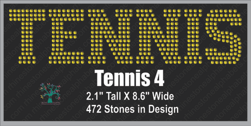Tennis Word 4 ,TTF Rhinestone Fonts & Rhinestone Designs