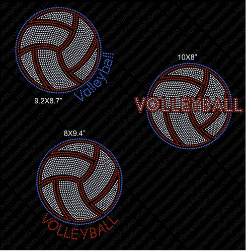 Volleyball1 Rhinestone TTF  Alphabets and Rhinestone Designs
