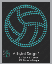 volleyball Design 2 Rhinestone TTF  Alphabets and Rhinestone Designs