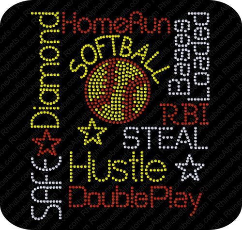 SOFTBALL 14 ,TTF Rhinestone Fonts & Rhinestone Designs