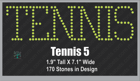 Tennis Word 5 ,TTF Rhinestone Fonts & Rhinestone Designs