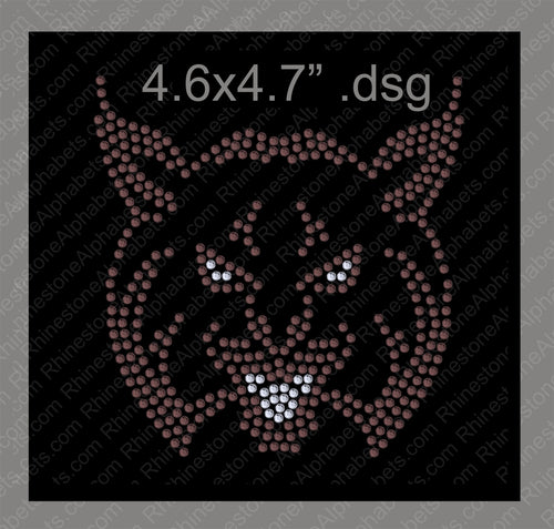 Wildcat 1 Mascot for .dsg file Rhinestone TTF  Alphabets and Rhinestone Designs