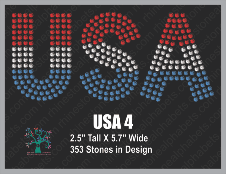 USA  Word 4 Rhinestone TTF  Alphabets and Rhinestone Designs