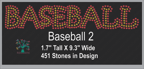 Baseball Word 2 ,TTF Rhinestone Fonts & Rhinestone Designs