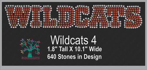 Wildcats Word 4 Rhinestone TTF  Alphabets and Rhinestone Designs