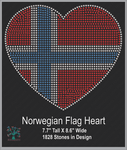 Norwegian Flag Heart ,TTF Rhinestone Fonts & Rhinestone Designs