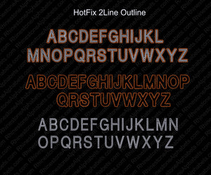 2 Line Outline dsg file ,TTF Rhinestone Fonts & Rhinestone Designs