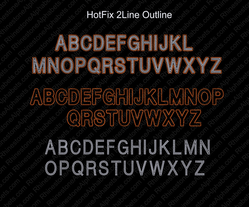 Hot Fix 2LineOutline ,TTF Rhinestone Fonts & Rhinestone Designs