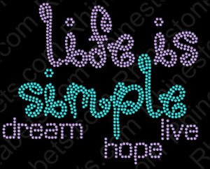 Life is Simple 1 ,TTF Rhinestone Fonts & Rhinestone Designs