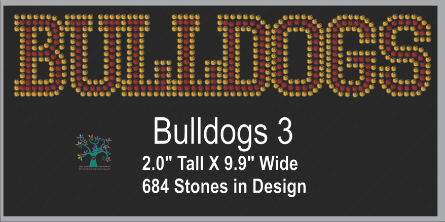 Bulldogs Word 3 ,TTF Rhinestone Fonts & Rhinestone Designs