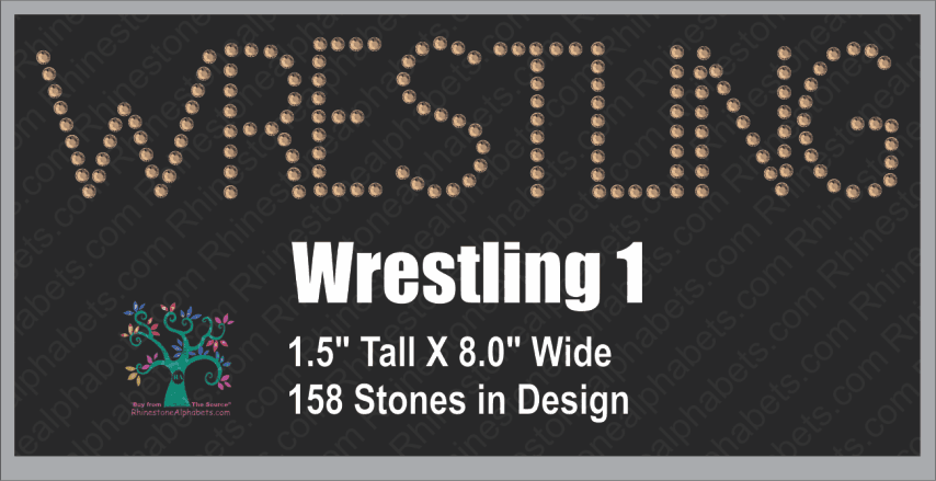 WrestlingWord 1 Rhinestone TTF  Alphabets and Rhinestone Designs