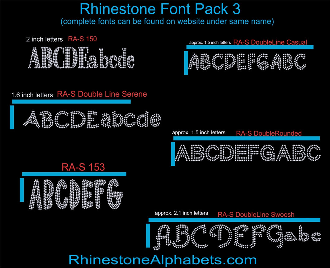 Font Pack 3 Download Only ,TTF Rhinestone Fonts & Rhinestone Designs