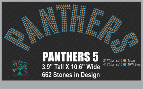 Panthers Word 5 ,TTF Rhinestone Fonts & Rhinestone Designs