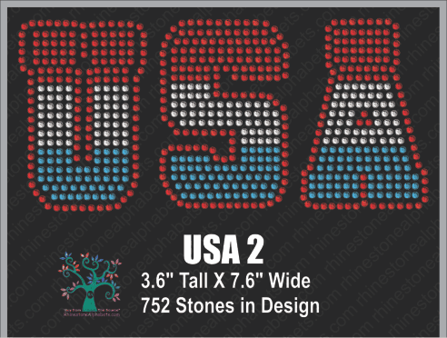 USA  Word 2 Rhinestone TTF  Alphabets and Rhinestone Designs