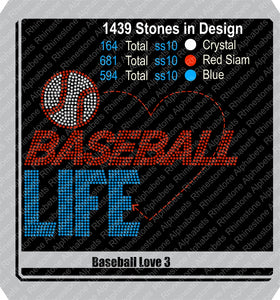 Baseball Love 3 ,TTF Rhinestone Fonts & Rhinestone Designs