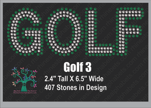 Golf 3 ,TTF Rhinestone Fonts & Rhinestone Designs