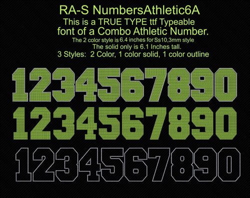 RA-S NumbersAthletic6A ,TTF Rhinestone Fonts & Rhinestone Designs
