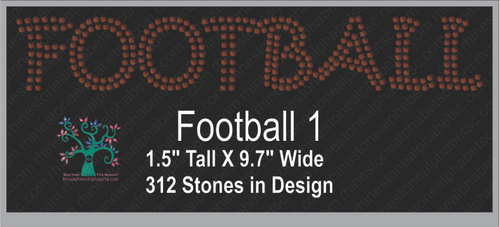 Football  Word 1 ,TTF Rhinestone Fonts & Rhinestone Designs