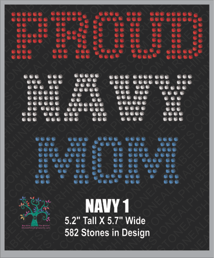 Navy Word 1 ,TTF Rhinestone Fonts & Rhinestone Designs
