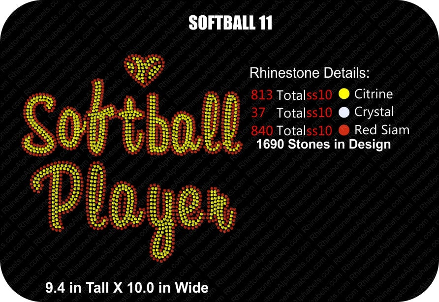 SOFTBALL 11 ,TTF Rhinestone Fonts & Rhinestone Designs