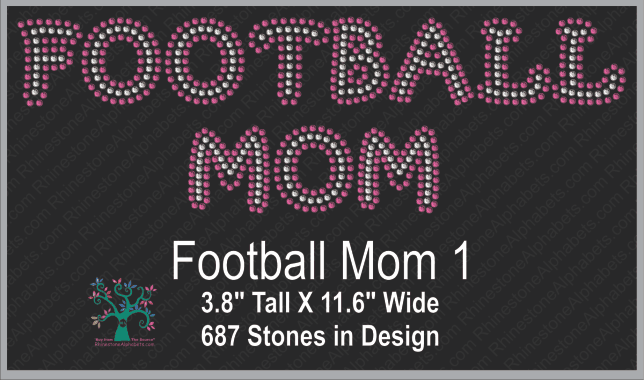 Football Mom 1 ,TTF Rhinestone Fonts & Rhinestone Designs